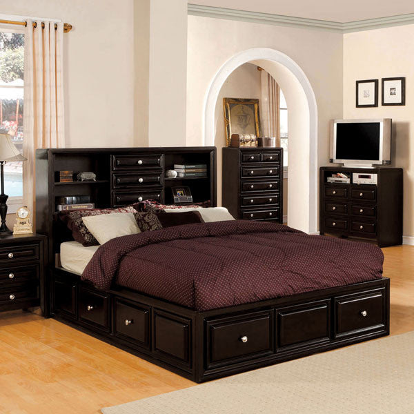 Yorkville Transitional Espresso Bookcase Headboard Platform Bed