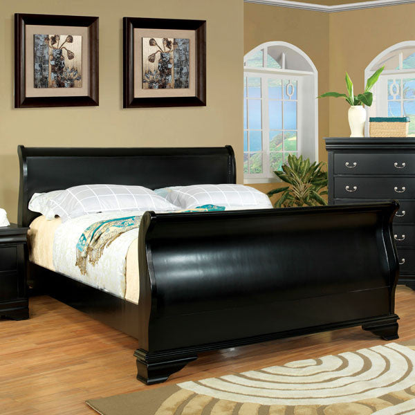 Laurelle Classic Cottage Style Black Sleigh Bed