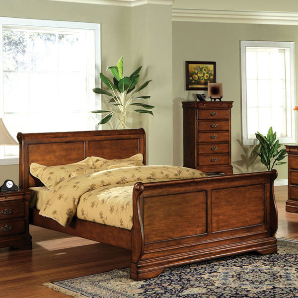 Venice Cottage Style Dark Oak Sleigh Bed