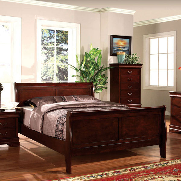 Louis Philippe Classic Cottage Style Dark Cherry Finish Bed Frame Set