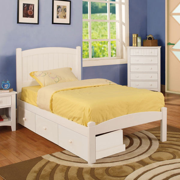 Caren Mission Style White Youth Bed