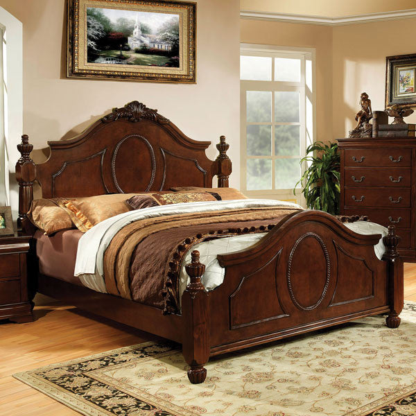 Velda English Style Warm Cherry Finish Bed Frame Set
