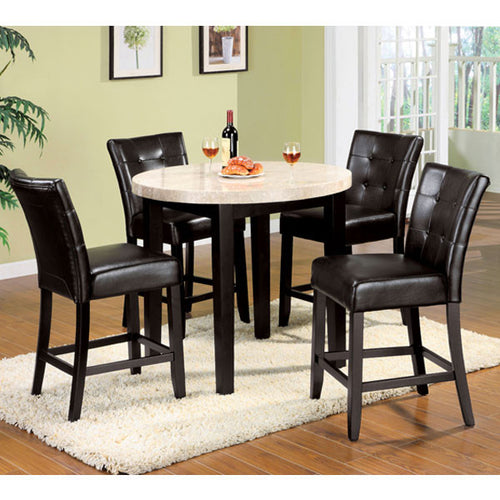 Marion Contemporary Style 5-Piece Round Counter Height Dining Table Set