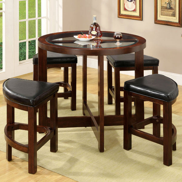 Crystal Cove 5-Piece Round Counter Heights Pub Table Set