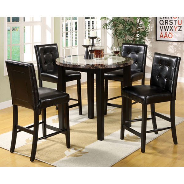 Black Round Dining Table Set: Atlas Black Finish 5 Piece Counter Height Round Dining