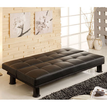 Quinn Black Contemporary Style Leatherette Finish Sofa Futon Set