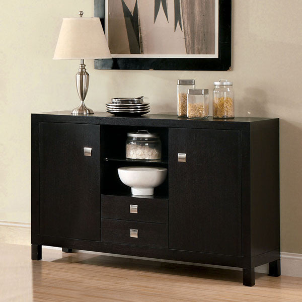 Bay Side Contemporary Espresso Buffet Server Cabinet