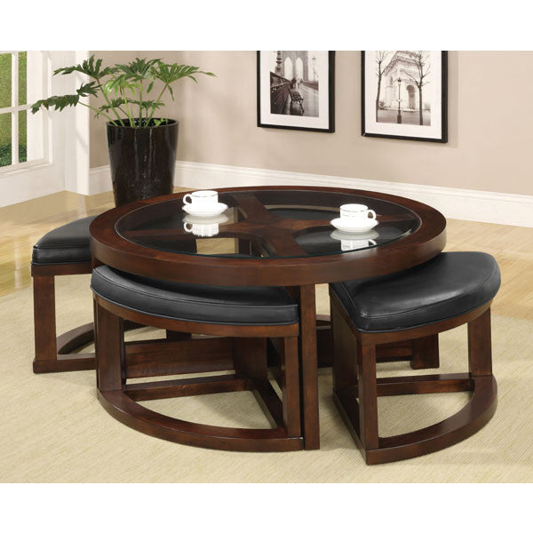 Crystal Cove Classic Style Round Coffee Table Set With Ottomans  sc 1 st  24/7 Shop At Home & Crystal Cove Classic Style Round Coffee Table Set With Ottomans u2013 24 ...