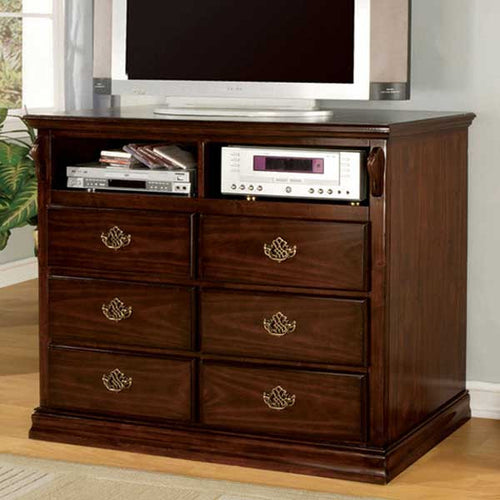 Tuscan Colonial Style Dark Pine Finish Media Chest