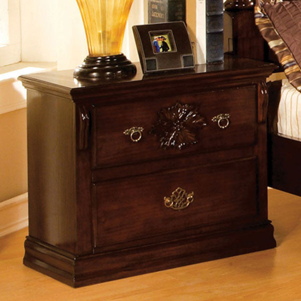 Tuscan Colonial Style Dark Pine 2-Drawer Bedroom Nightstand