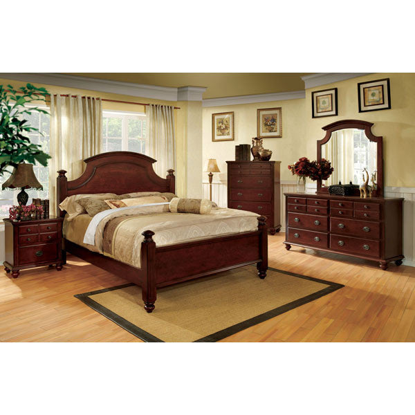 Gabrielle French Country Style Dark Cherry Finish 6-Piece Bedroom ...
