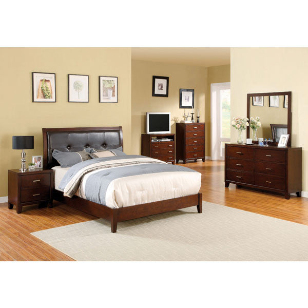 Enrico Contemporary Brown Cherry 6-Piece Bedroom Set