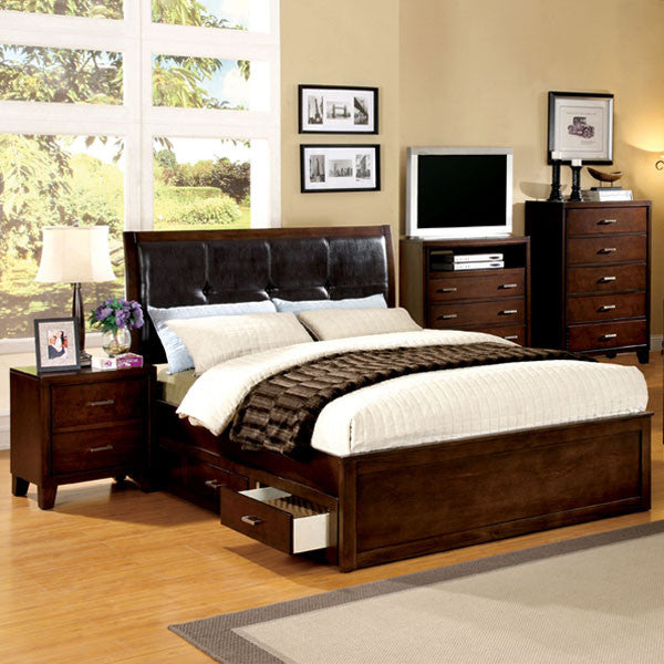 7 piece bedroom set. Channing Transitional Brown Cherry 6 Piece Bedroom Set  24 7 Shop At Home