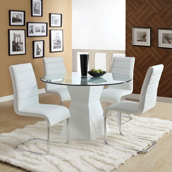 Sumiton Contemporary 5 Piece Glass Top Round Dining Set U2013 24/7 Shop At Home