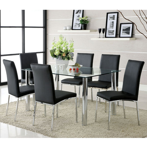 Nondalton Contemporary Black Leatherette 7-Piece Dining Set