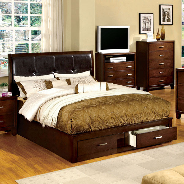 Buckingham Transitional Cottage Style Brown Cherry Finish Platform Bed Frame Set