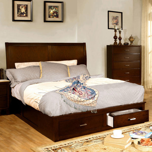 Brantley Contemporary Brown Cherry Storage Footboard Platform Bed
