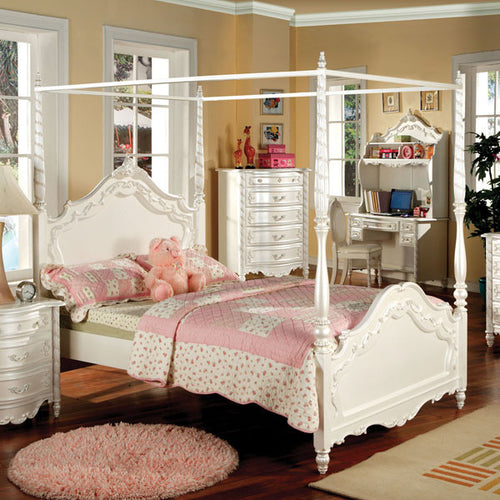Victoria English Style Pearl White Youth Canopy Bed
