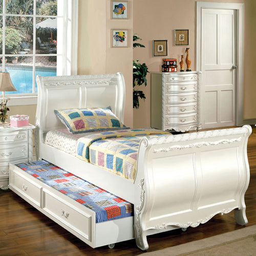 Alexandra English Style Pearl White Youth Bed with Trundle