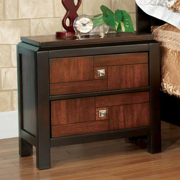 Patra Asian Contemporary Style Acacia & Walnut Finish Nightstand