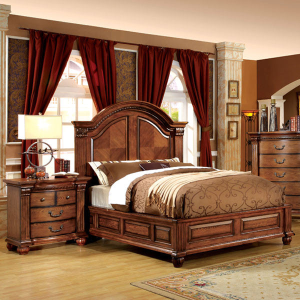 Bellagrand English Style Antique Tobacco Oak 6-Piece Bedroom Set ...