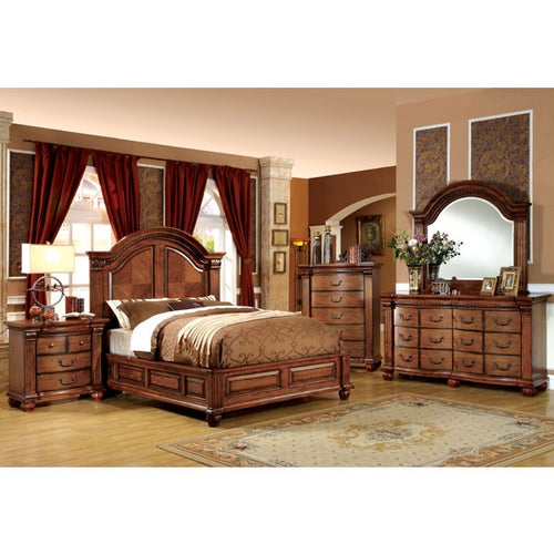 Bellagrand English Style Antique Tobacco Oak 6-Piece Bedroom Set