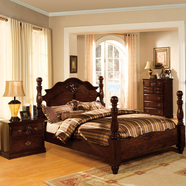 Tuscan Colonial Style Dark Pine Finish 6 Piece Bedroom Set