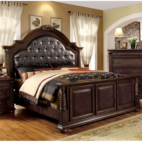 Esperia English Style Brown Cherry Finish Bed Frame Set