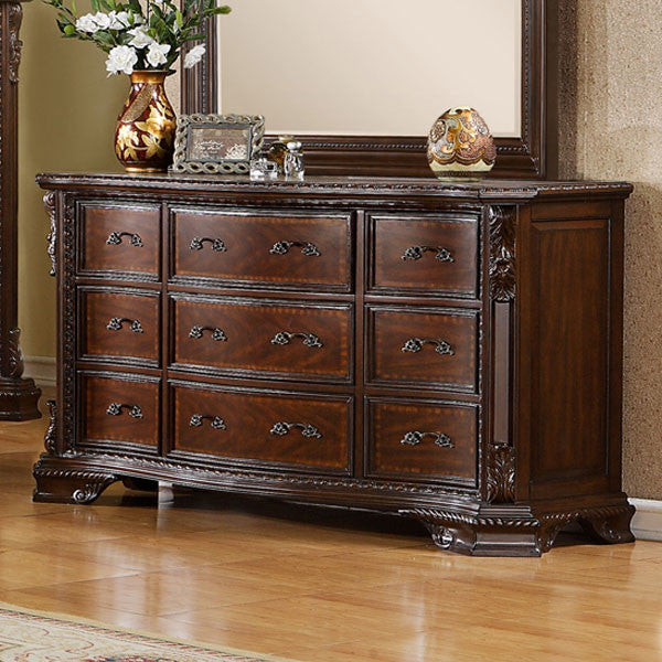 South Yorkshire Baroque Style Brown Cherry Finish Bedroom Dresser