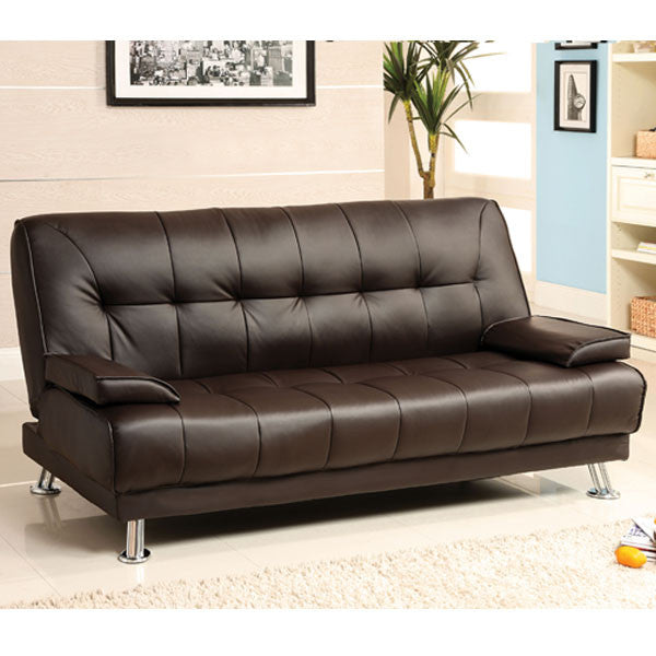 Beaumont Dark Brown Leatherette Futon