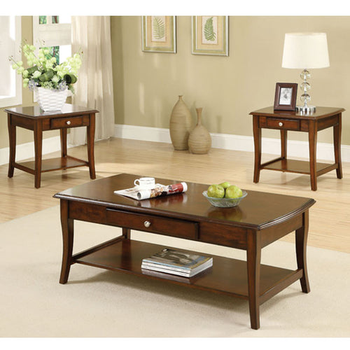 Brookston Classic Style Dark Oak Coffee and End Table Set