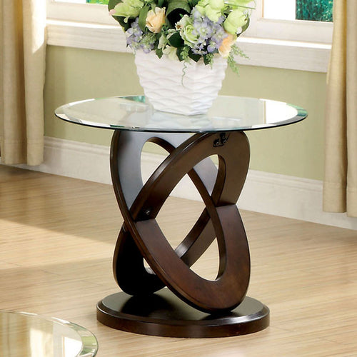 Atwood Dark Walnut Finish Round Glass Top End Table