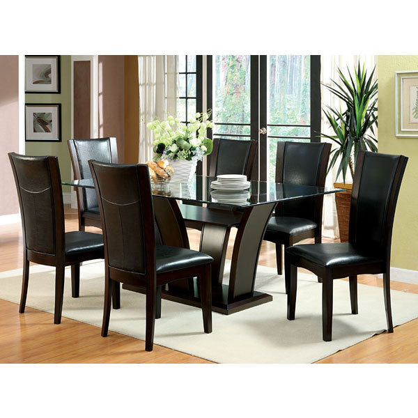 Manhattan Dark Cherry Glass Dining Set