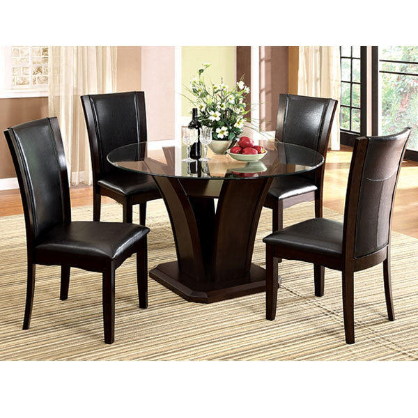 Manhattan Dark Cherry 5-Piece Round Glass Dining Set