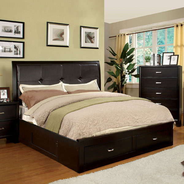 Atkinson Traditional Cottage Style Espresso Finish Bed Frame Set