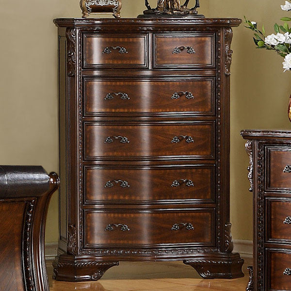 South Yorkshire Baroque Style Brown Cherry Finish Bedroom Chest