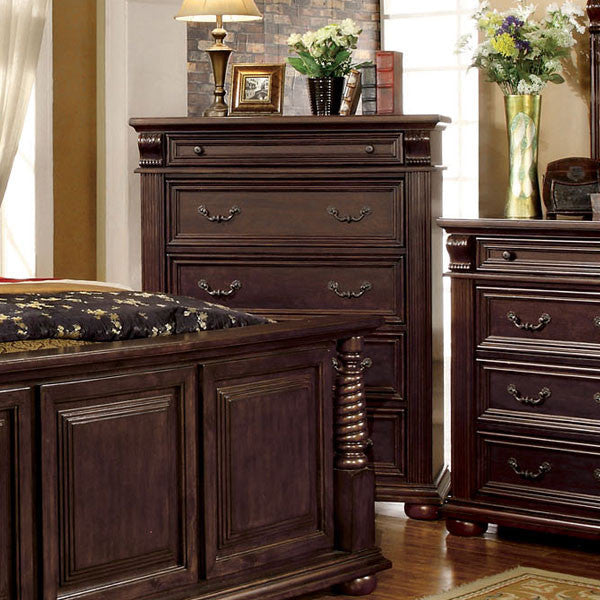 Esperia English Style Brown Cherry Finish Bedroom Chest