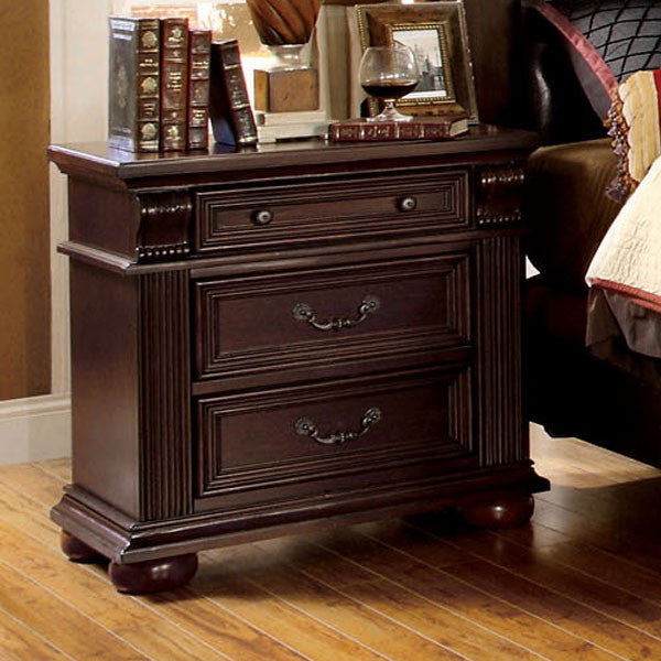Esperia English Style Brown Cherry Finish Nightstand