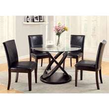 Glenwood Contemporary Round Glass Top Espresso 5-Piece Dining Set