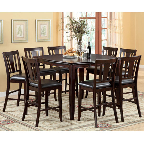 Ethan Espresso Finish Transitional Style Counter Height Dining Table Set