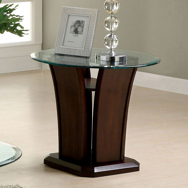 Manhattan Dark Cherry Finish Oval Glass Top End Table