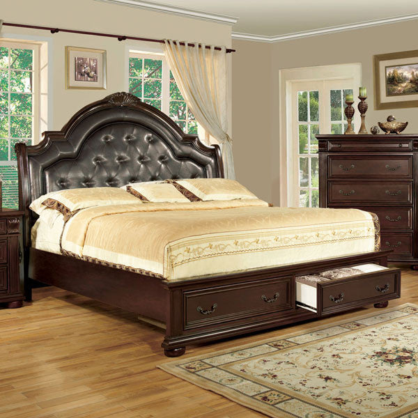 scottsdale baroque style brown cherry finish bed frame set – 24/7