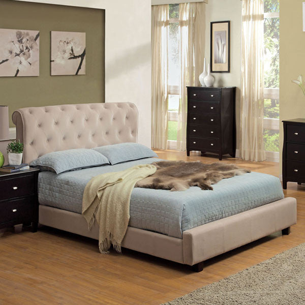 Cayman Contemporary Beige Velvet Fabric Headboard Platform Bed