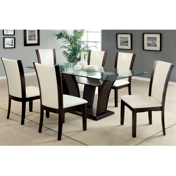 Manhattan Glass Dining Set With White Leatherette Chairs