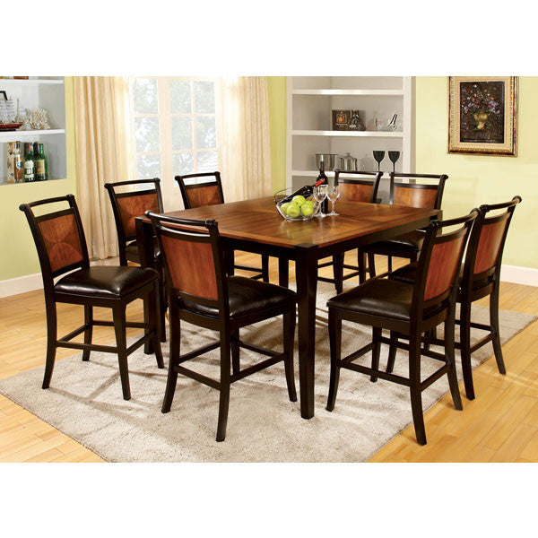 Lianne Acacia Cottage Style Black Finish Counter Height Dining Table Set