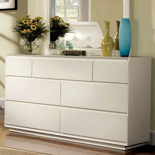 Felica Contemporary White 7-Drawer Bedroom Dresser