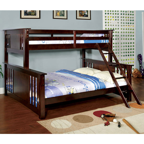 Spring Creek Dark Walnut Finish Twin & Queen Combo Size Bunk Bed
