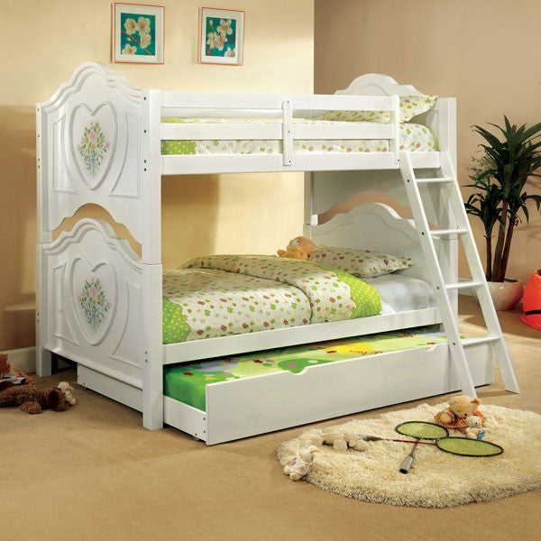 Isabella White Finish Dual Twin Size Bunk Bed With Trundle
