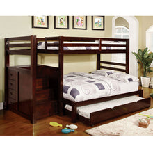 Pine Ridge Dark Walnut Finish Twin & Full Combo Size Bunk Bed