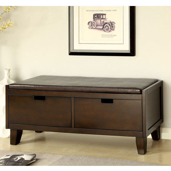 Hebron Walnut Finish Leatherette Padded Seat Storage Bench